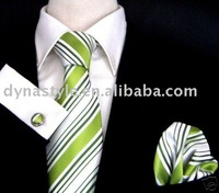 Hot Sale High Quality Fashion 100% Polyester Green Striped,Pink Striped Woven Tie Necktie