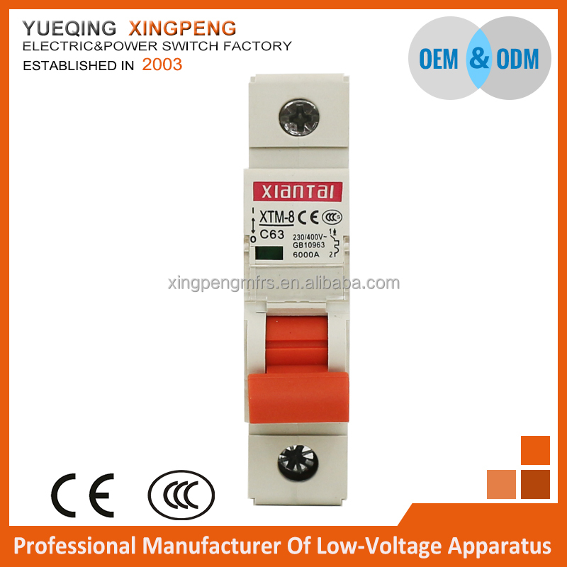 Electrical circuit breaker,MCB C65 1 pole 63amp 240v 6ka,mini circuit breaker C65