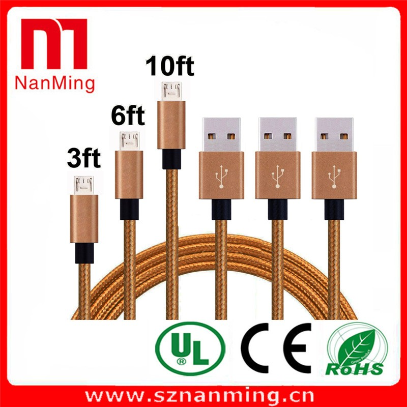 Aluminum alloy USB-MICRO2.0 High speed charging/SYNC Cable (3FT)Nylon wire GOLD+ SILVER