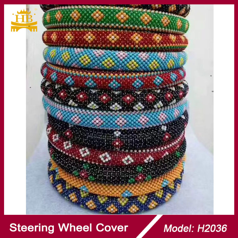 colorful plastic bead car steering wheel cover