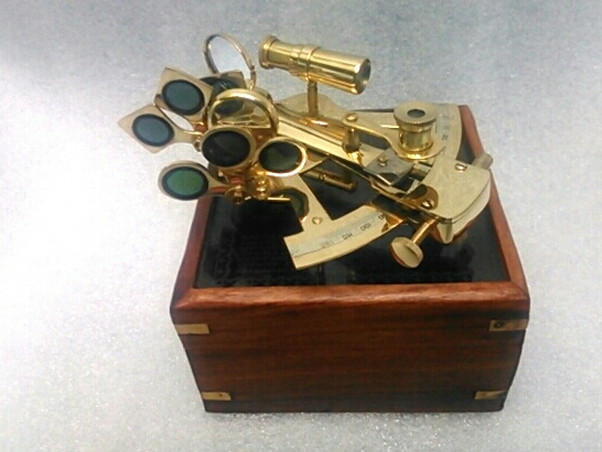 NAUTICAL BRASS SEXTANT 4 INCH WITH WOODEN BOX