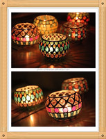 7*10cm cloloful round ball shape seashell handmade glass mosaic candle holder for home decoration