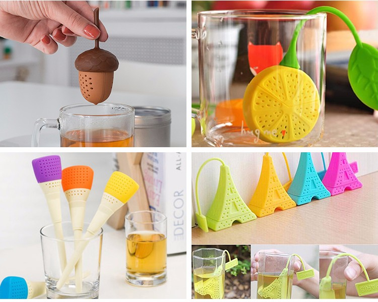 tea accessories wholesale animal fruit shape silicone tea leaf spice loose filter bag