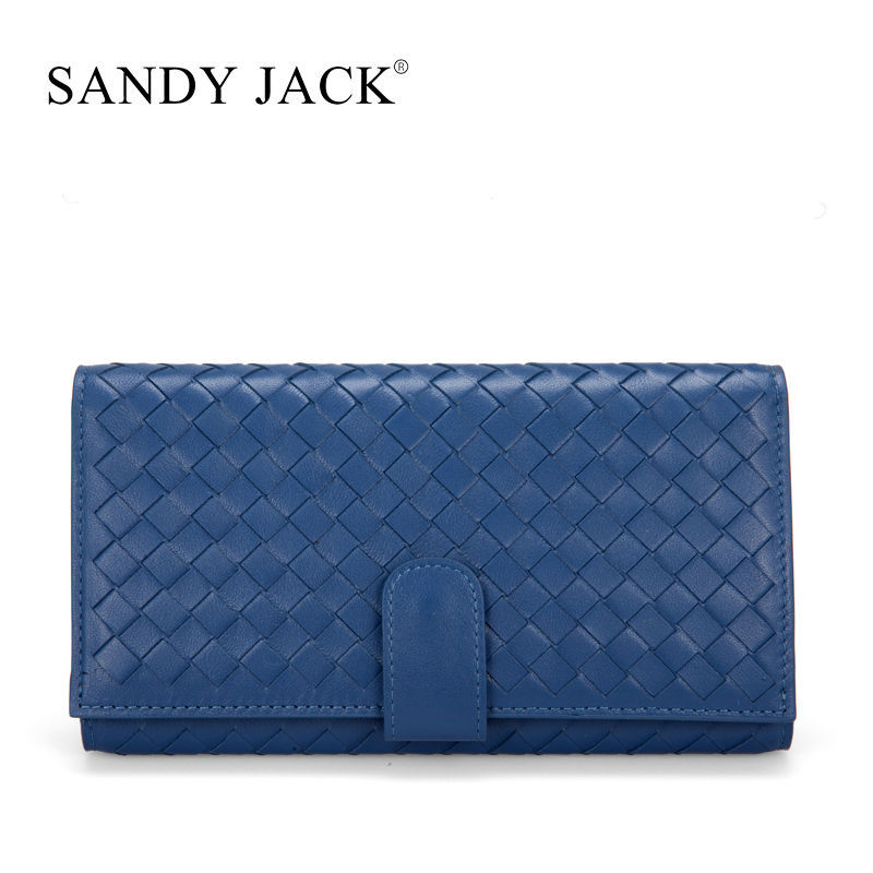 Retail High Quality Handmade Lambskin Leather Wallet Purse for Lady bright blue trip folded card holder long wallet bag