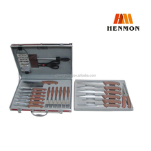 HM-K014 25pcs royal kitchen knife set with aluminium insurance box