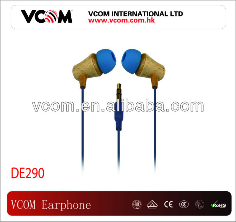 VCOM Brand New Style Stereo Bamboo in-ear Earphone For mp3 mp4 mobile phone