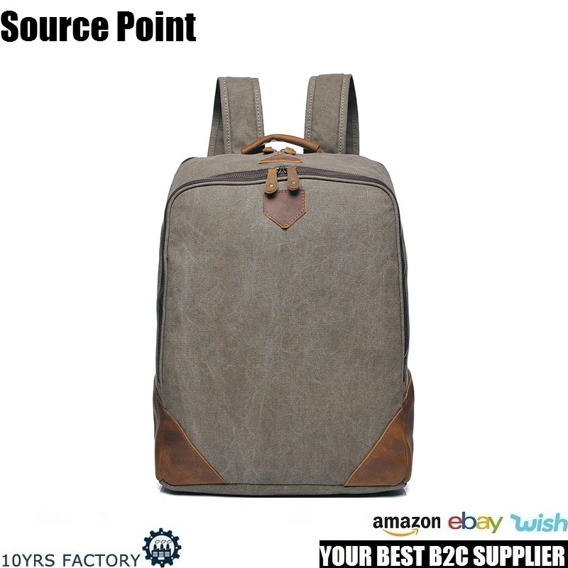YD-2202 Vintage Style Waxed Waterproof women fashion Canvas Laptop Backpack