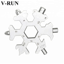 19 in 1EDC metal snowflake keychain snowflake wrench stainless multi tool