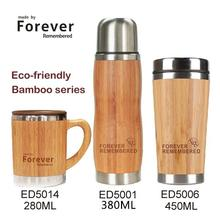 Stainless Steel coffee bamboo cup mug double wall insulated vacuum flask thermos water drinking tea cup