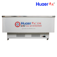 "Huaer 2m/79"" Flat Top Flat Lid horizontal ice cream/popsicles/seafood/ meat/Display Freezer for supermarket and convience store"