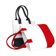 Wool felt non woven fabric tote shopping bag
