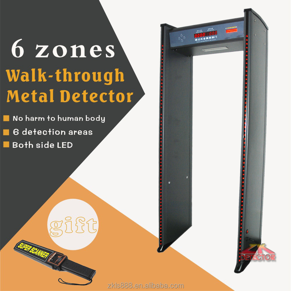 Hot sale 6 zones Security Door Frame Metal Detector With LED indicator on both side