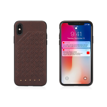 high quality cross  stereo embossment woven plaid leather phone case for iphone X