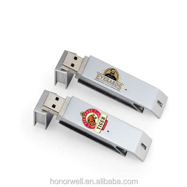 Big sale metal bottle opener Customized Logo Flash Drive USB