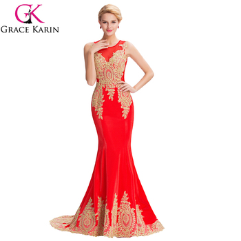Grace Karin 2016 Sleeveless Elegant Golden Appliques Ball Gown Red Evening Dress Abendkleid GK000026-3