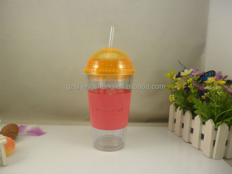 plastic cups with lid,plastic cup with straw(bpa free,pass SGS)
