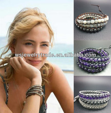 Real Leather Wrap Bracelet With Semi Precious Stone Beads Factory Direct Sale