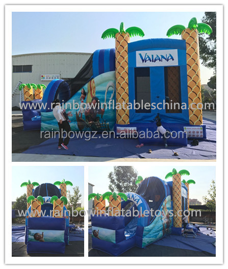 New Inflatable Moana Sea Theme Combo House/ Inflatable Jumping Cartoon Castle/ Inflatable Cartoon Slide Playground