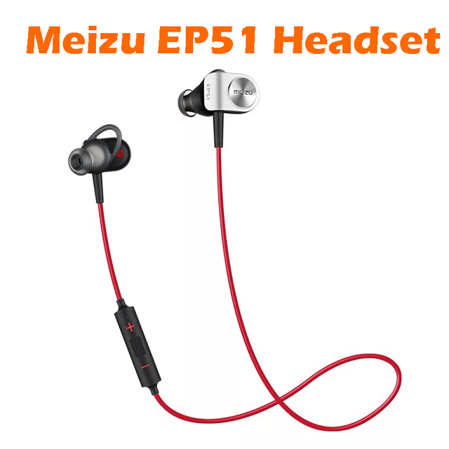 Original Meizu EP51 Sports Bluetooth Stereo Headset Nano Waterproof With MIC Aluminium Alloy Support IOS Android Red-Black