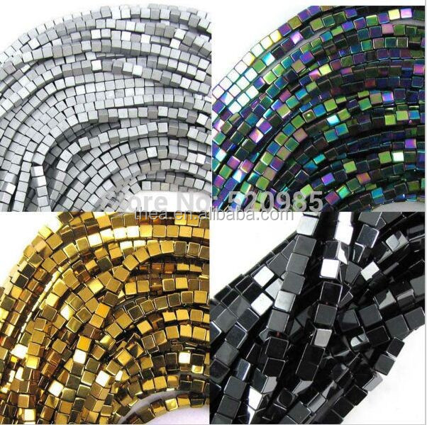 2016 fashion new style hematite beads Black/Gold/Silver/Rainbow natural stone hematite Tube loose beads 4mm