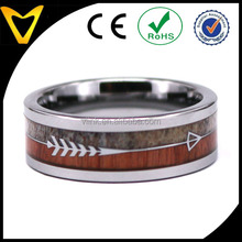 Inlaied Natural Elk Antler Wood and Arrow Tungsten Bohemian Wedding Ring