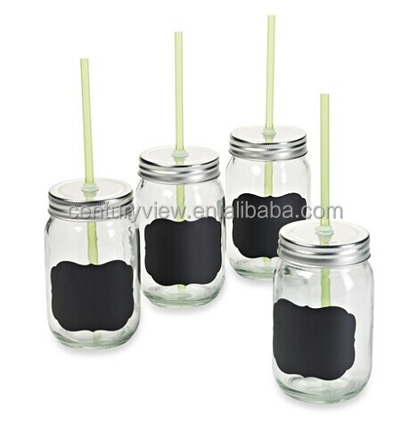 12oz 14oz 16oz 20oz Mason Jar Drinking Glass With Tin Lid Straw