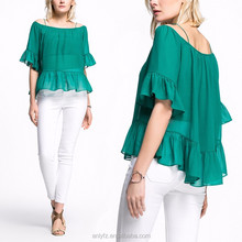 high quality design flounced anti emptied two-piece light chiffon shirt blouse for ladies fashion clothing