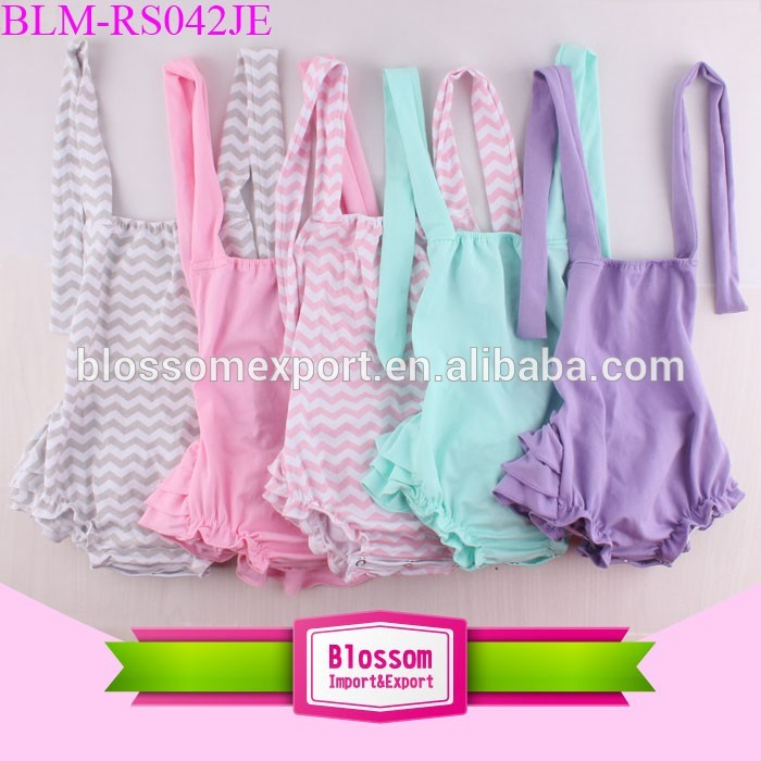 Wholesale Summer Seersucker Baby Romper Boutique Sunsuit Backless Children Halter Tie Shortall Girls Blank Ruffle Bubble Romper