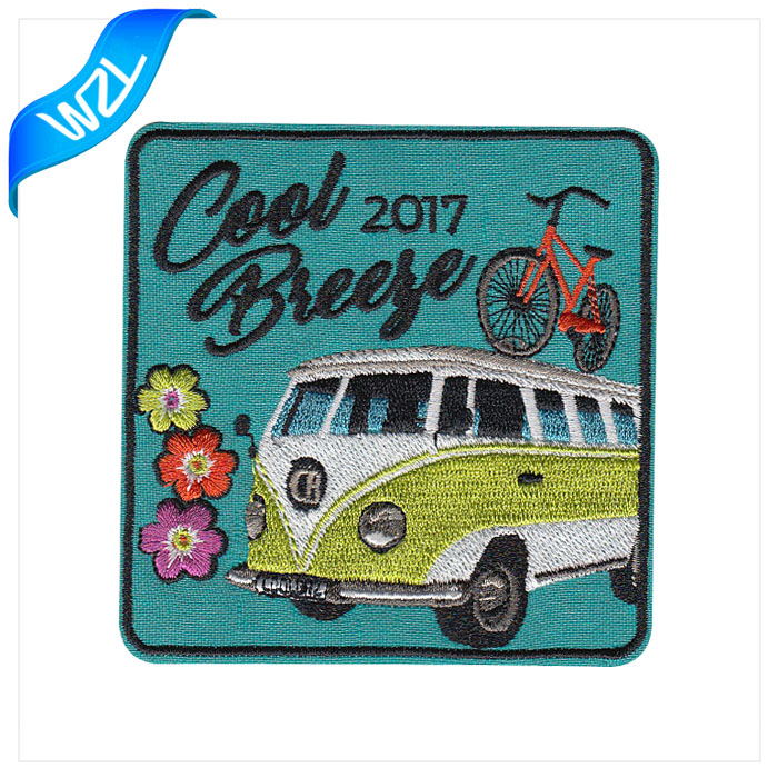 Large fashion custom cartoon bus embroidery patches