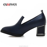 Classic pointed-toe rivet studded women chunky heel shoes women low heel pumps ladies formal shoes wholesale