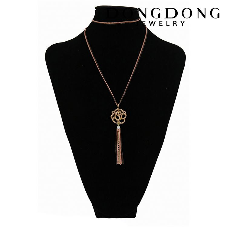 New fashion hollow flower aluminum chain metal pendant necklace stainless steel pendant
