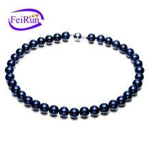 11mm big size round dyed peacock black natural freshwater colored pearl silver necklace