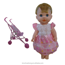 High quality lovely 14.5 inch baby doll customized with stroller toy