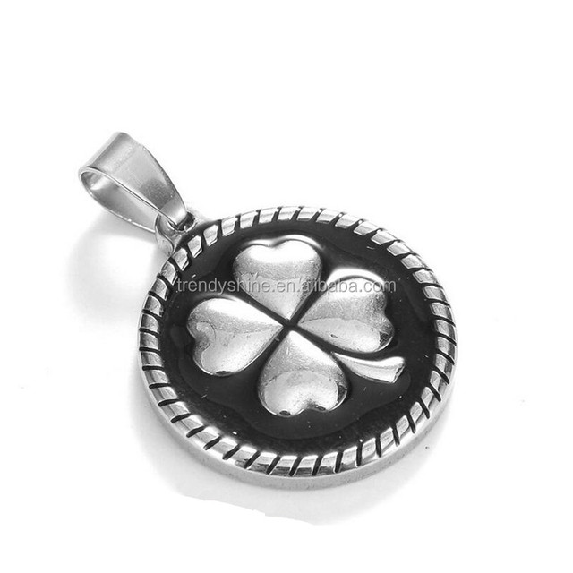 Cheap custom stainless steel enamel round four leaves clover pendant necklace