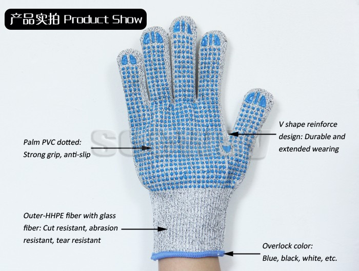 Seeway HDPE And Glass Fiber With Palm Blue PVC Dotted safety Anti Cut Glove Level 5 Protection EN388 Certified Strong Grip