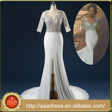 ASAW04 100% Real Photos Custom Made Luxurious Half Sleeve See Through Beaded Long Train African Style Sexy Wedding Dress