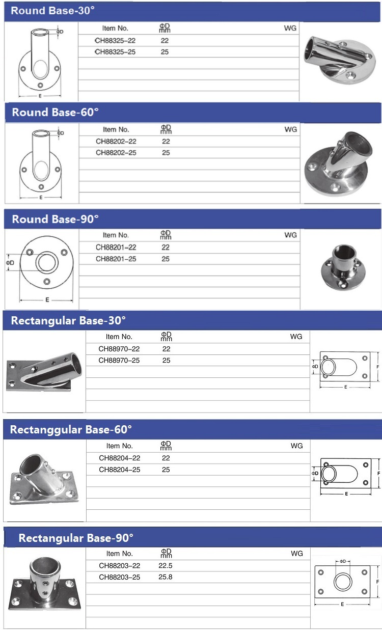 Sailboat Yacht Stainless Steel Boat Pipe Tube Railing Top Deck Fittings Connectors For Boats
