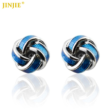 Hot Silver Metal Enamel Knot Cufflinks Christmas Gift for Mens Cuff links Novelty Design Knots Men French Shirt Cuffs