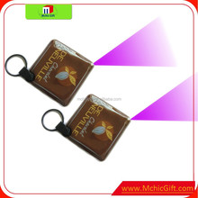 full color brand custom shaped pvc mini uv light torch keychain