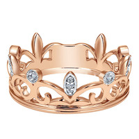 King and queen crown ring crystal jewelry gold plated ring