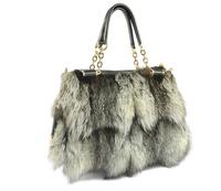 2016 New Arrival Fashion Bags Color Genuine Fox Fur Leather Women Handbag
