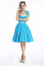 "High Neck Lace Swing Dress - ""Bright Blue"" - Size US 6 - Walson style rockabilly dress"