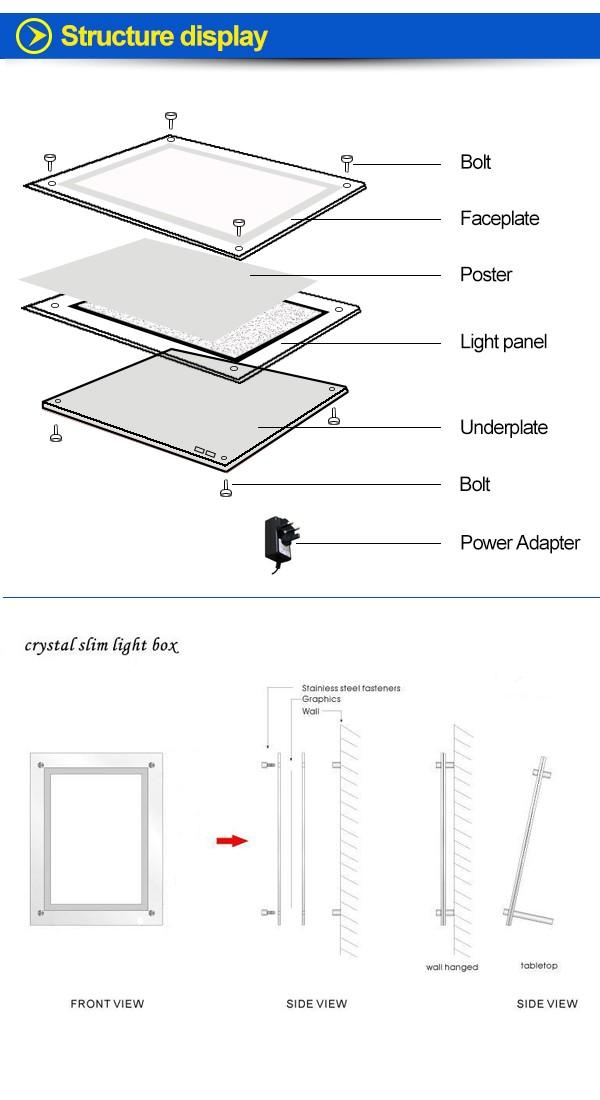 Window Display A4 Light Pocket Led Crystal Light Frame Acrylic Box ...