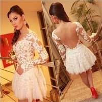 White color women knee-length long sleeve backless sexy short casual lace dress