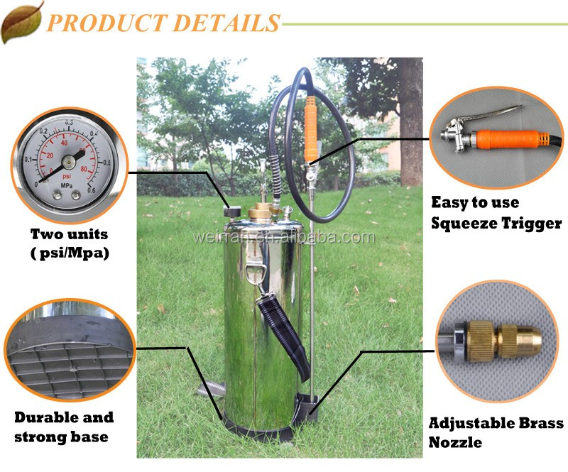multifunctional metal agriculture hand backpack jet spraying open top stainless steel tank
