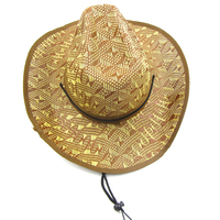 Straw and nylon string feature horsemen hat