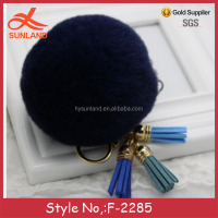 F-2285 new lovely car key ring 8cm real raccoon fur ball keychain with leather tassels