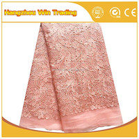 Customized african nigerian wedding lace fabrics 2016 / Peach tulle french lace with beads and rhinestones