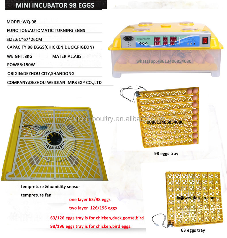 Family use hatching eggs machine,chea price automatic egg incubator 98 eggs