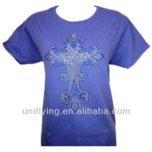 100% Cotton blue custom 2013 fashion style t-shirt with cross rhinestone transfer